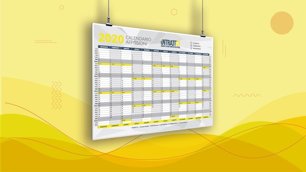 Calendario Affissioni 2021 CALENDARIO AFFISSIONI PUBBLICITARIE 2020 | intratto